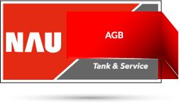 "Rotes Nau Tank & Service Logo mit Schriftzug ""AGB"""