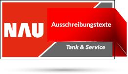 """Rotes Nau Tank & Service Logo mit Schriftzug """"Ausschreibungstexte"""""""