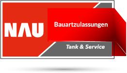 "Rotes Nau Tank & Service Logo mit Schriftzug ""Bauartzulassung"""