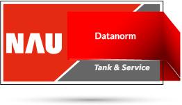"Rotes Nau Tank & Service Logo mit Schriftzug ""Datanorm"""