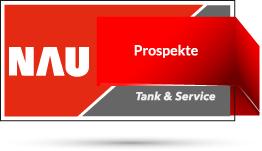 """Rotes Nau Tank & Service Logo mit Schriftzug """"Prospekte"""""""