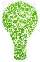 Grüne Glühbirne mit Symbolen gefüllt