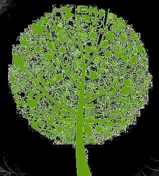 Grüner Baum mit verschiedenen Symbolen als Blätter