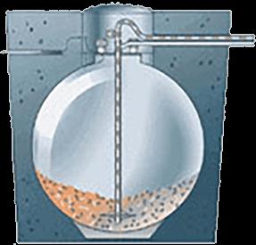 Querschnitt durch das Erdkugel Pelletlagersystem