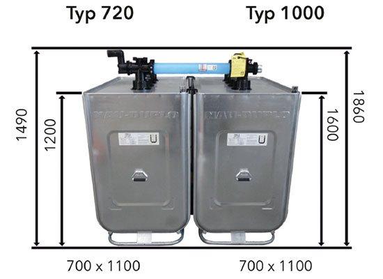 Zwei NAU DUPLO Heizöltanks nebeneinander und verbunden, Maße eingezeichnet auf dem Bild