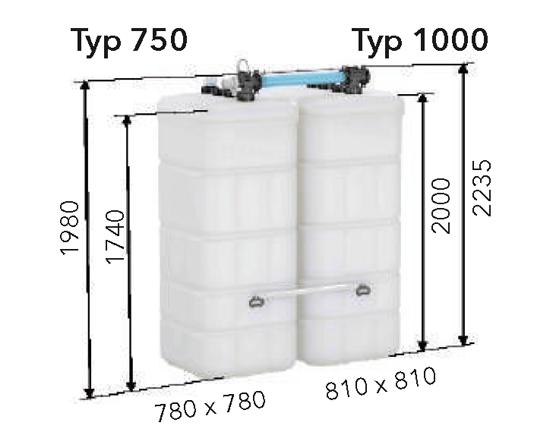 Abmessungen Batterietank DIAMANT PLUS eingezeichnet im Bild
