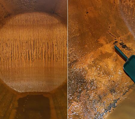 Vermessung und Reinigung des Heizöltanks vor Innenhüllen Montage