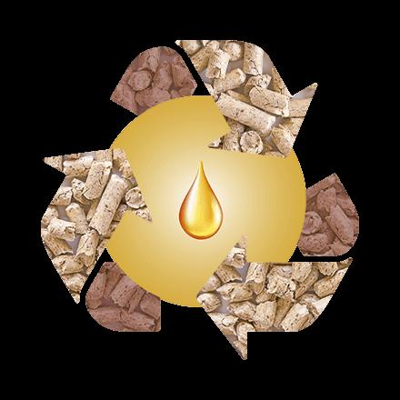 Recycling Symbol mit Pellet als Pfeile