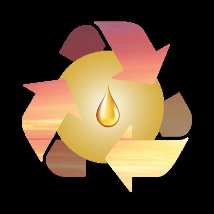 Recycling Symbol mit warmer Luft als Pfeile