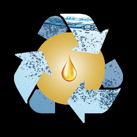 Recycling Symbol mit Wasser als Pfeile